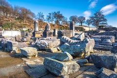 Ruïnes van de oude stad van Philippi, Oostelijk Macedonië en Thrace, Griekenland royalty-vrije stock afbeeldingen