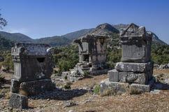 Ruïnes van de oude stad van Sidima, Turkije, drie Lycian-graven royalty-vrije stock afbeelding