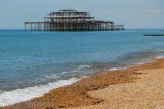 Ruïnes van de Pijler van het Westen, Brighton, Engeland Stock Fotografie
