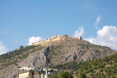 Ruïnes van de vesting Argos op de heuvel Larissa peloponnese royalty-vrije stock fotografie