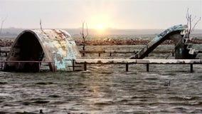 Ruïnes van een Overstroomd Kinderen` s Park stock footage