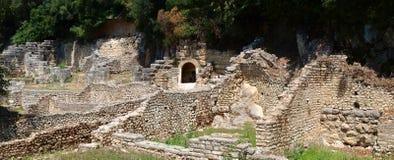 Ruïnes van een theater in Butrint, Albanië stock foto