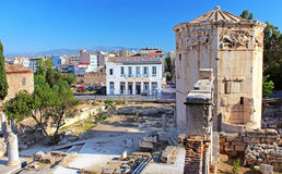 Ruïnes van een toren, Toren van de Winden, Athene, Greec Stock Afbeeldingen