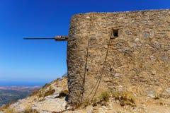Ruïnes van encient ingebouwde windmolens 15de eeuw Stock Afbeelding