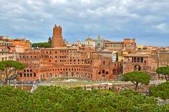 Ruïnes van Foro Di Traiano in Rome, Italië Stock Foto's