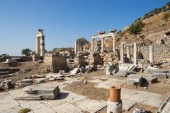 Ruïnes van Griekse stad Ephesus Stock Afbeeldingen