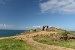 Ruïnes van Grosnez-Kasteel op Jersey Stock Fotografie