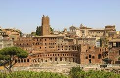 Ruïnes van het Forum van Trajan ` s in Rome, Italië stock foto's
