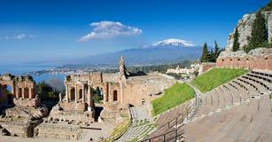 Ruïnes van het Griekse Theater, Taormina Stock Afbeeldingen