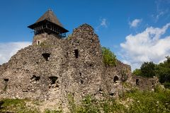 Ruïnes van Kasteel Nevytske in gebied Over de Karpaten Belangrijkst houd torendonjon stock foto's