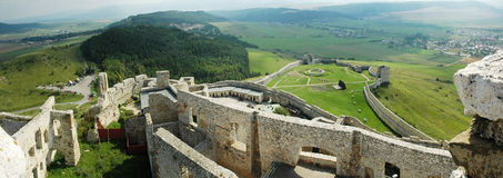 Ruïnes van Kasteel Spis - panorama Royalty-vrije Stock Foto