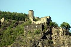 Ruïnes van kasteel Strekov royalty-vrije stock afbeeldingen