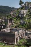 Ruïnes van Kayakoy-Dorp in Fethiye in de bergen, Turkije stock foto