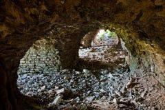 Ruïnes van middeleeuwse Ivangorod-vesting Royalty-vrije Stock Foto's