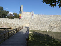 Ruïnes van middeleeuwse vesting in Drobeta Turnu Severin Royalty-vrije Stock Afbeeldingen
