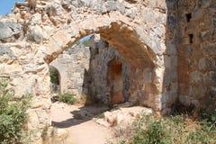 Ruïnes van Monfort kasteel, Israël Stock Afbeeldingen