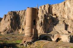 Ruïnes van oud fort in Bestelwagen, Oostelijk Turkije royalty-vrije stock afbeeldingen