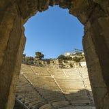 Ruïnes van oud theater onder Akropolis van Athene Royalty-vrije Stock Fotografie