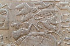 Ruïnes van oude Egyptische tempel Stock Foto's