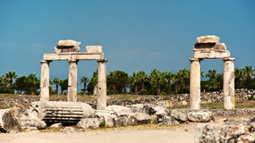 Ruïnes van oude Hierapolis Stock Fotografie