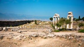 Ruïnes van oude Hierapolis Stock Afbeeldingen