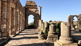 Ruïnes van oude roman stad Volubilis dichtbij aan Meknes, Marokko, Afrika stock videobeelden