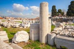 Ruïnes van Oude Smyrna in een de zomerdag Izmir, Turkije Royalty-vrije Stock Fotografie