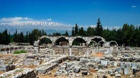Ruïnes van oude stad Anjar, Bekaa-vallei Libanon stock foto
