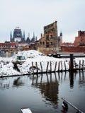 Ruïnes van oude stad in Gdansk Polen Stock Afbeelding