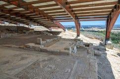 Ruïnes van oude stad Kourion op Cyprus stock foto's