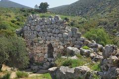 Ruïnes van oude stad Mycenae in Griekenland Royalty-vrije Stock Afbeeldingen