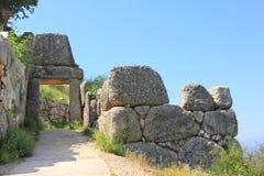 Ruïnes van oude stad Mycenae in Griekenland Stock Fotografie