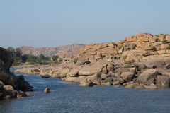 Ruïnes van oude stad Vijayanagara, India Stock Afbeelding