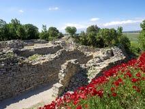 Ruïnes van oude Troia-stad, Canakkale Dardanellen/Turkije stock afbeeldingen