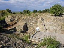 Ruïnes van oude Troia-stad, Canakkale Dardanellen/Turkije stock foto