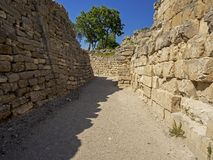 Ruïnes van oude Troia-stad, Canakkale Dardanellen/Turkije stock fotografie