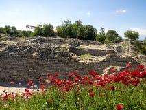 Ruïnes van oude Troia-stad, Canakkale Dardanellen/Turkije royalty-vrije stock afbeelding