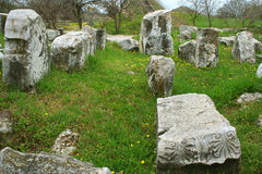 Ruïnes van oude troiastad stock fotografie