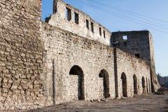 Ruïnes van oude vesting in Chortkiv, de Oekraïne Stock Foto