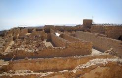 Ruïnes van pakhuis in vesting Masada Stock Afbeelding