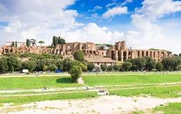 Ruïnes van Palatine heuvelpaleis en Circus Maximus in Rome Royalty-vrije Stock Afbeelding