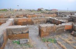 Ruïnes van privé ruimten dichtbij de tempel van Zvartnots armenië stock afbeeldingen