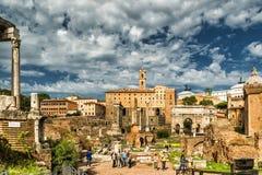Ruïnes van Roman Forum, Rome Royalty-vrije Stock Fotografie