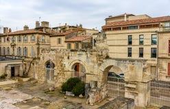 Ruïnes van roman theater in Arles - Unesco-erfenisplaats stock fotografie