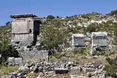 Ruïnes van Sidyma in Fethiye Turkije stock afbeelding