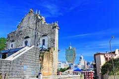 Ruïnes van St Paul And Cityscape, Macao, China, Unesco-de Plaats van de Werelderfenis Stock Afbeeldingen
