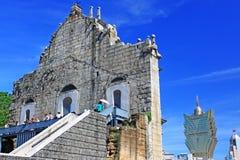 Ruïnes van St Paul And Cityscape, Macao, China, Unesco-de Plaats van de Werelderfenis Royalty-vrije Stock Afbeelding