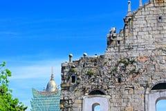 Ruïnes van St Paul And Cityscape, Macao, China, Unesco-de Plaats van de Werelderfenis Stock Foto