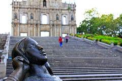 Ruïnes van St Paul And Lady Statue, Macao, China, Unesco-de Plaats van de Werelderfenis Royalty-vrije Stock Afbeelding