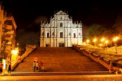 Ruïnes van St Paul At Night, Macao, China, Unesco-de Plaats van de Werelderfenis Royalty-vrije Stock Foto